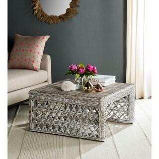 Safavieh Shila White Washed Rattan Table