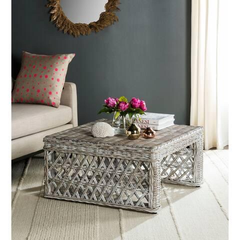 "Safavieh Shila White Washed Rattan Table - 31.5"" x 31.5"" x 17.6"""