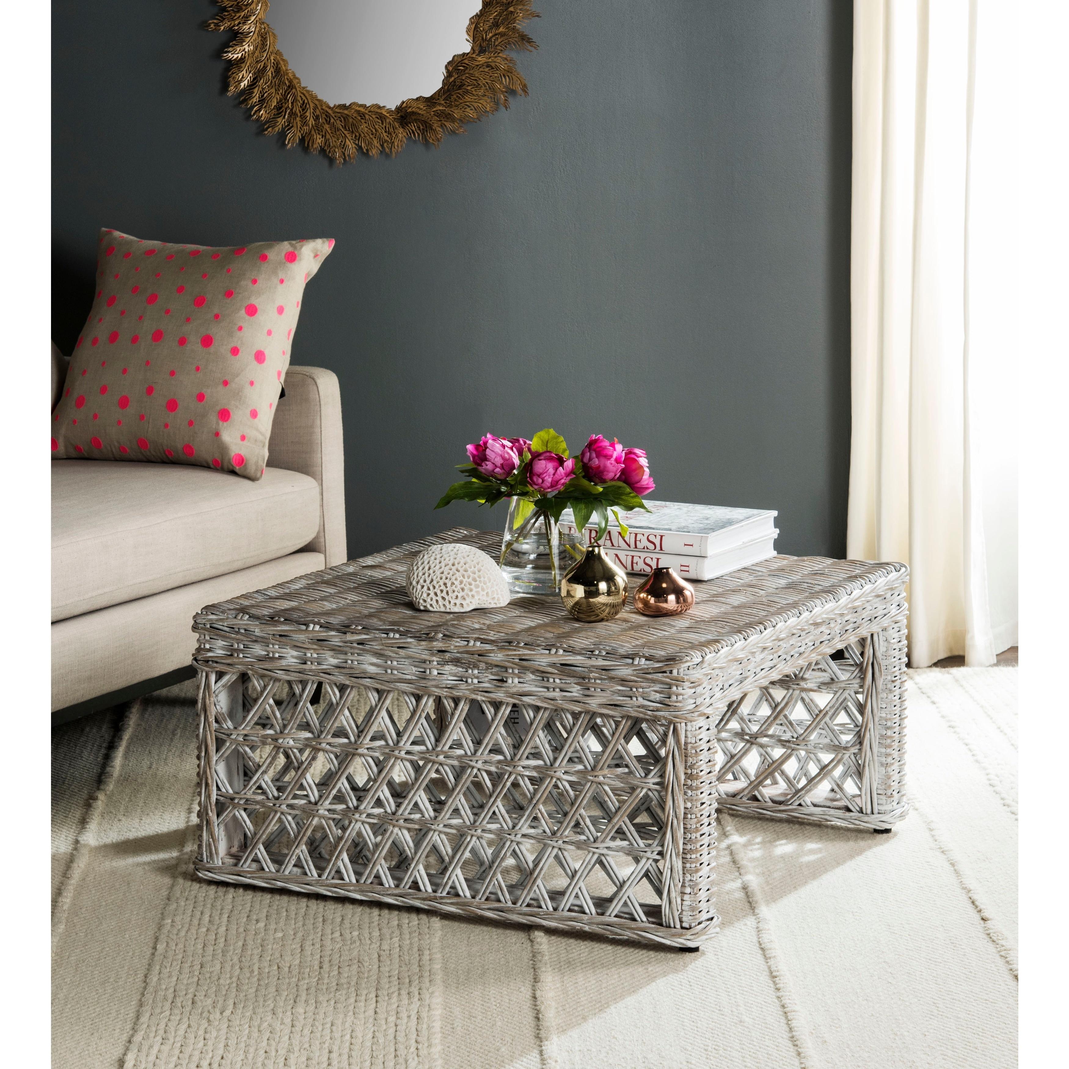 Magnificent Safavieh Shila White Washed Rattan Table 31 5 X 31 5 X 17 6 Ibusinesslaw Wood Chair Design Ideas Ibusinesslaworg