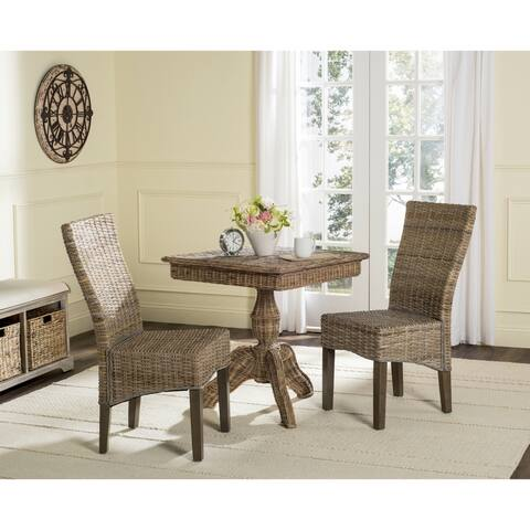 """SAFAVIEH Dining Rural Woven Ozias Grey Dining Chairs (Set of 2) - 18.5"""" x 27.5"""" x 39"""""""