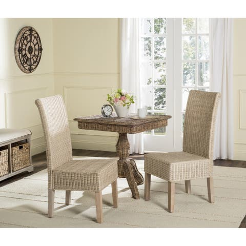 "Safavieh Dining Rural Woven Arjun White Washed Wicker Dining Chairs (Set of 2) - 18.1"" x 13.2"" x 40.1"""