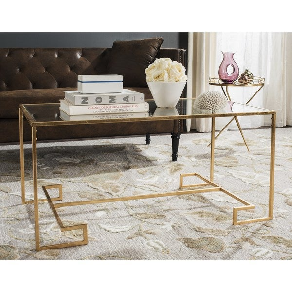 Safavieh Burton Antique Gold Leaf Coffee Table Free Shipping Today Overstock 17896279