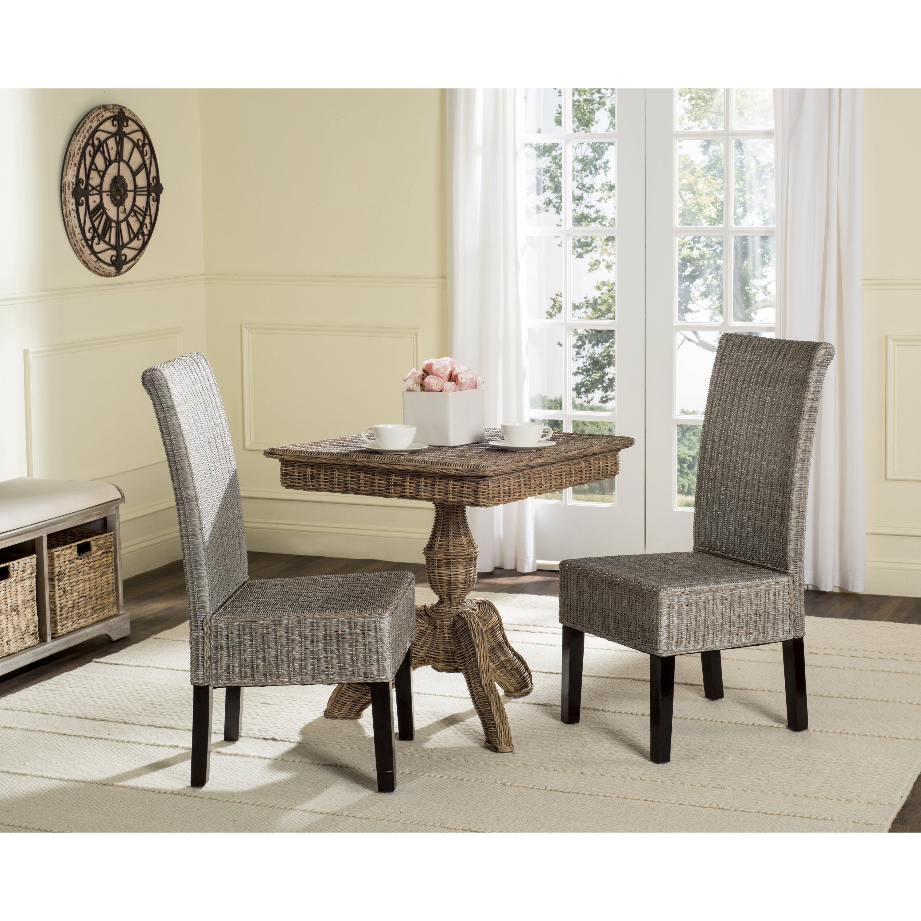 Safavieh rural woven dining arjun antique grey wicker dining chairs set of 2
