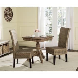 Safavieh Rural Woven Dining Arjun Grey Wicker Chairs Set Of 2