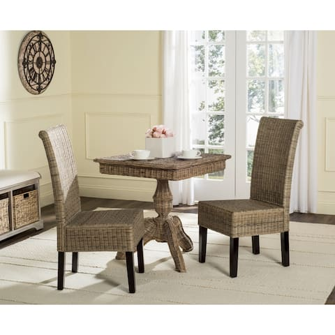 "SAFAVIEH Dining Rural Woven Arjun Grey Wicker Dining Chairs (Set of 2) - 18.1"" x 13.2"" x 40.1"""