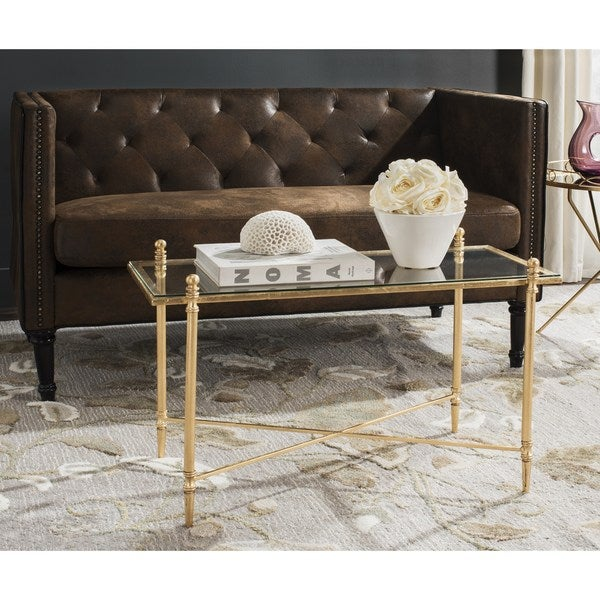 safavieh tait antique gold leaf coffee table - free shipping today