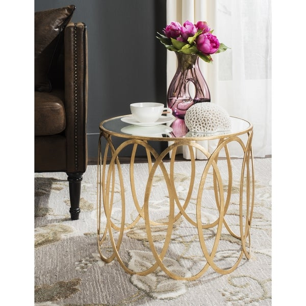 Safavieh Cyrah Antique Gold Leaf Accent Table