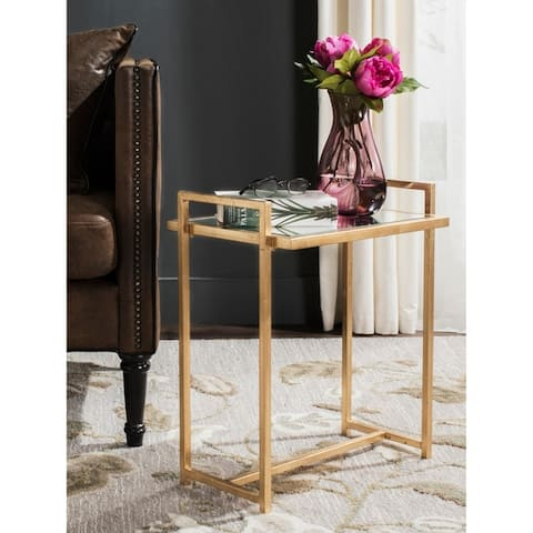 """SAFAVIEH Renly Antique Gold Leaf End Table - 18.3"""" x 12.3"""" x 22.1"""""""