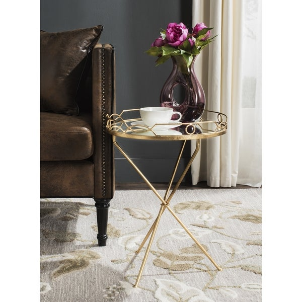 Safavieh Cherris Antique Gold Leaf Round End Table