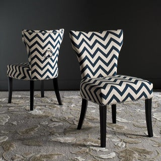 Safavieh En Vogue Dining Jappic Chevron Navy/White Ring Side Chairs (Set of 2)