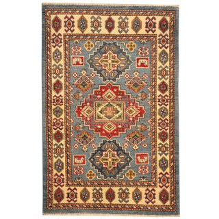 Herat Oriental Afghan Hand-knotted Tribal Kazak Light Blue/ Ivory Wool Rug (2'8 x 4')