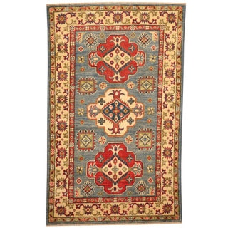 Herat Oriental Afghan Hand-knotted Tribal Kazak Light Blue/ Ivory Wool Rug (2'7 x 4')