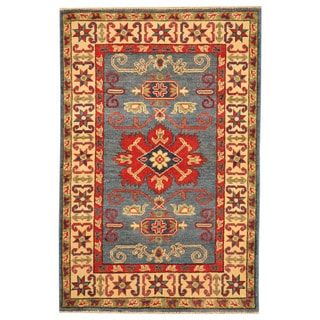 Herat Oriental Afghan Hand-knotted Tribal Kazak Light Blue/ Ivory Wool Rug (2'9 x 4'2)