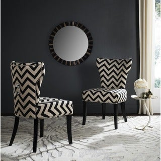 Safavieh En Vogue Dining Jappic Chevron Black/White Ring Dining Chairs (Set of 2)