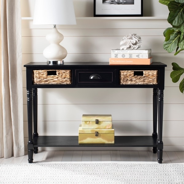 Shop Safavieh Christa Distressed Black Console Storage Table - 44.5 ...