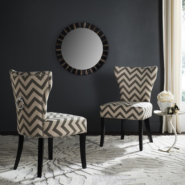Safavieh En Vogue Dining Jappic Chevron Grey/White Ring Dining Chairs (Set  Of 2