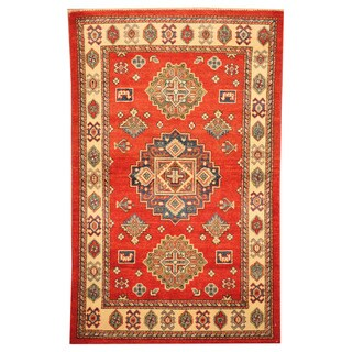 Herat Oriental Afghan Hand-knotted Tribal Kazak Red/ Ivory Wool Rug (2'10 x 4'7)