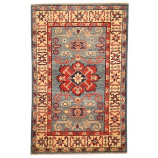 Herat Oriental Afghan Hand-knotted Tribal Kazak Light Blue/ Ivory Wool Rug (2'7 x 4'1)