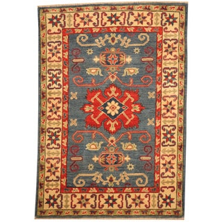 Herat Oriental Afghan Hand-knotted Tribal Kazak Light Blue/ Ivory Wool Rug (2'10 x 4')
