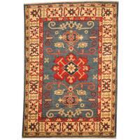 Handmade Herat Oriental Afghan Tribal Kazak Wool Rug (Afghanistan) - 2'10 x 4'