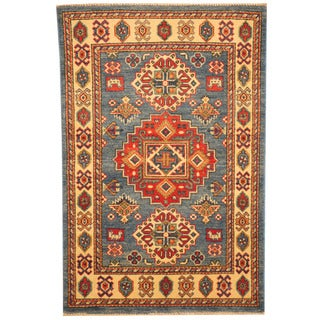 Herat Oriental Afghan Hand-knotted Tribal Kazak Light Blue/ Ivory Wool Rug (2'8 x 4'1)
