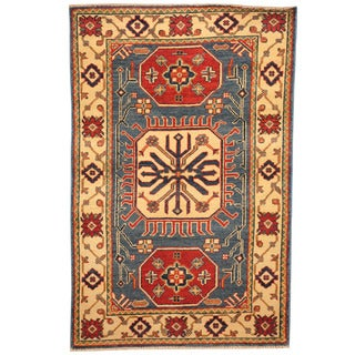 Herat Oriental Afghan Hand-knotted Tribal Kazak Light Blue/ Ivory Wool Rug (3' x 4'8)