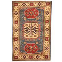 Handmade Herat Oriental Afghan Tribal Kazak Wool Rug (Afghanistan) - 3' x 4'8