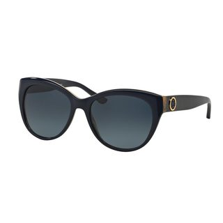 Tory Burch Women's TY7084 14924U Navy Plastic Cat Eye Polarized Sunglasses