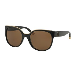 Tory Burch Women's TY9042 Black Plastic Square Sunglasses