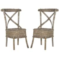 Safavieh Rural Woven Dining Katell Grey Rattan Side Chairs (Set of 2)