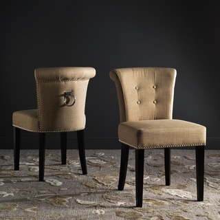 Safavieh En Vogue Dining Sinclair Beige Nailhead Ring Chairs (Set of 2)
