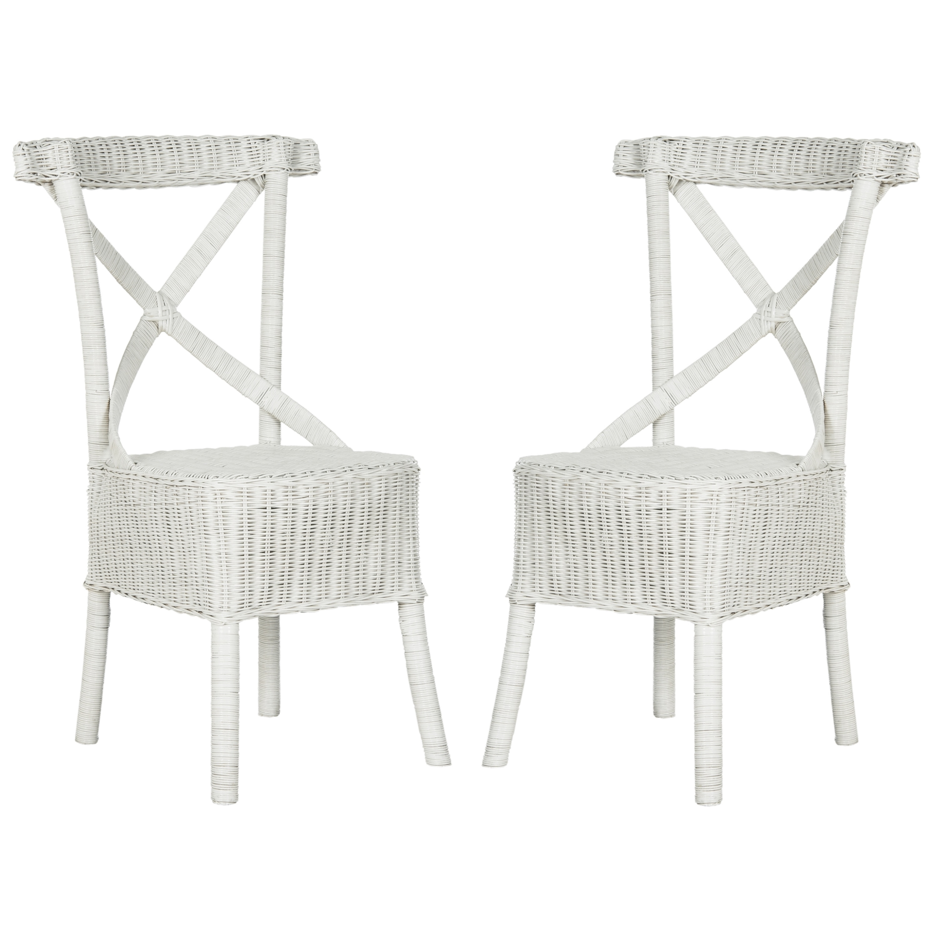 safavieh rural woven dining katell white rattan side chairs set of