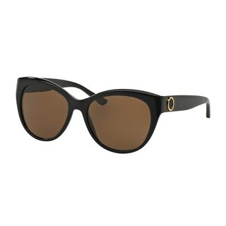 Tory Burch Women's TY7084 Black Plastic Cat Eye Sunglasses