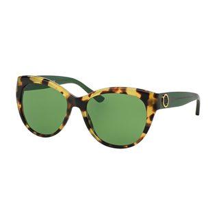 Tory Burch Women's TY7084 Tortoise Plastic Cat Eye Sunglasses