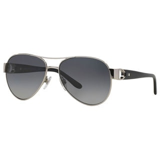 Ralph Lauren Women's RL7047Q Silver Metal Pilot Polarized Sunglasses