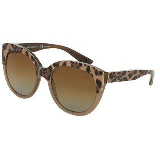 Dolce & Gabbana Women's DG4259 Brown Plastic Round Polarized Sunglasses