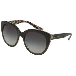 Dolce & Gabbana Women's DG4259 28578G Black Plastic Round Sunglasses