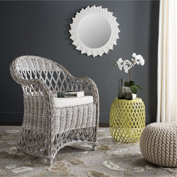 Safavieh Inez White Washed Rattan Club Chair