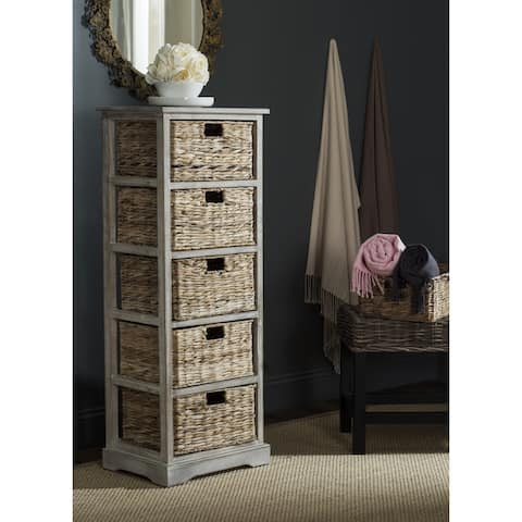 "Safavieh Vedette Winter Melody 5-drawer Wicker Basket Storage Tower - 17.3"" x 13.4"" x 46.1"""