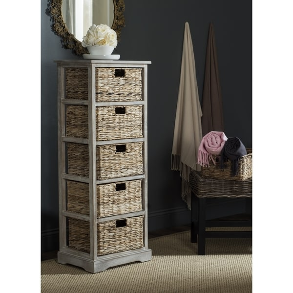 Safavieh Vedette Winter Melody 5-drawer Wicker Basket Storage Tower  sc 1 st  Overstock.com & Shop Safavieh Vedette Winter Melody 5-drawer Wicker Basket Storage ...