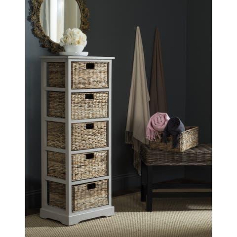 """SAFAVIEH Vedette Vintage Grey 5-drawer Wicker Basket Storage Tower - 17.3"""" x 13.4"""" x 46.1"""""""