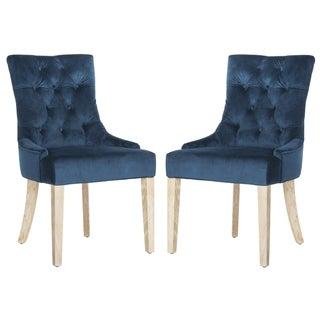 Safavieh En Vogue Dining Abby Navy Cotton Dining Chairs (Set of 2)