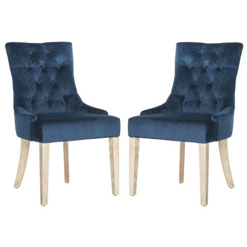 "Safavieh Dining Abby Navy Cotton Dining Chairs (Set of 2) - 22"" W x 23.8"" L x 36.4"" H"