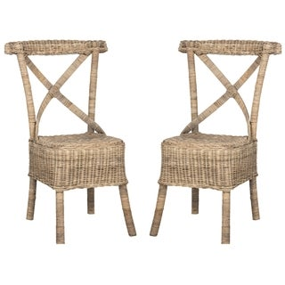 Safavieh Rural Woven Dining Katell Natural Rattan Side Chairs (Set of 2)