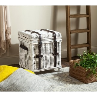 Safavieh Kacia White Natural Rattan Storage Trunk