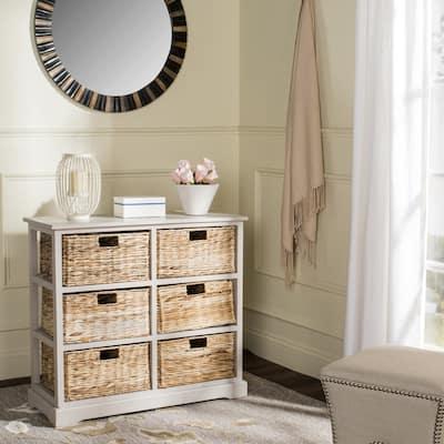 """Safavieh Keenan Vintage Grey 6-Drawer Wicker Basket Storage Chest - 32.1"""" x 13.4"""" x 29.5"""""""