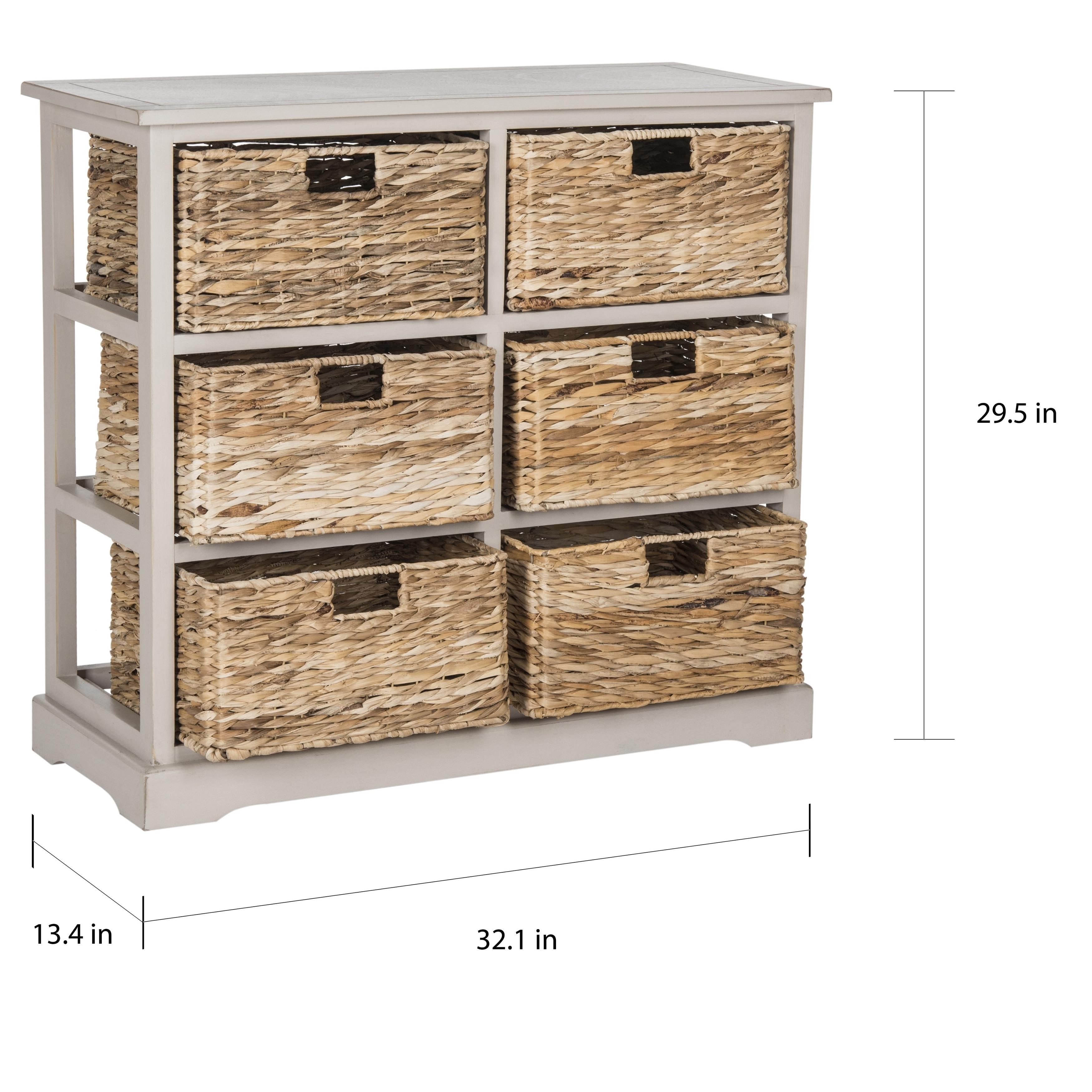 newest collection 1eade 287c8 Safavieh Keenan Vintage Grey 6-Drawer Wicker Basket Storage Chest
