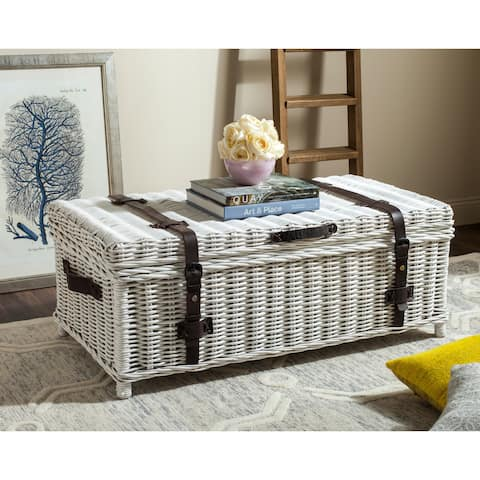 "Safavieh Navarro White Natural Rattan Storage Trunk - 45.7"" x 23.6"" x 18.2"""