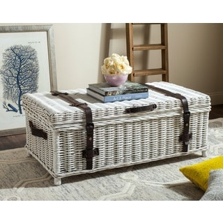 Safavieh Navarro White Natural Rattan Storage Trunk