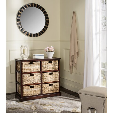 Safavieh Keenan Cherry 6-Drawer Wicker Basket Storage Chest